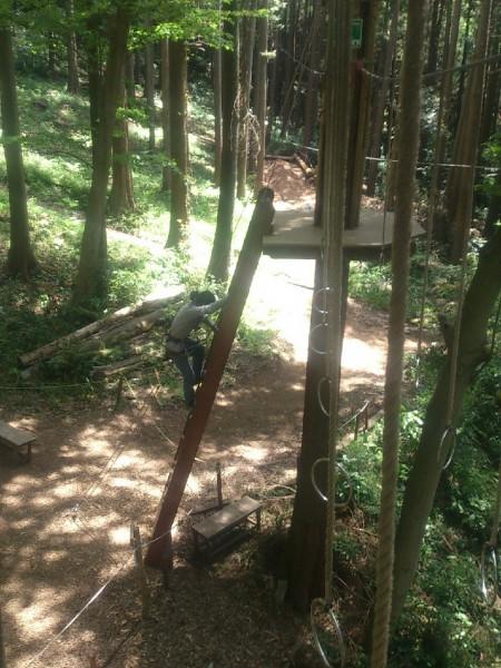 コースはハシゴを登ってスタートします。結構高いけど安全装置をきちんと使うので安心です。